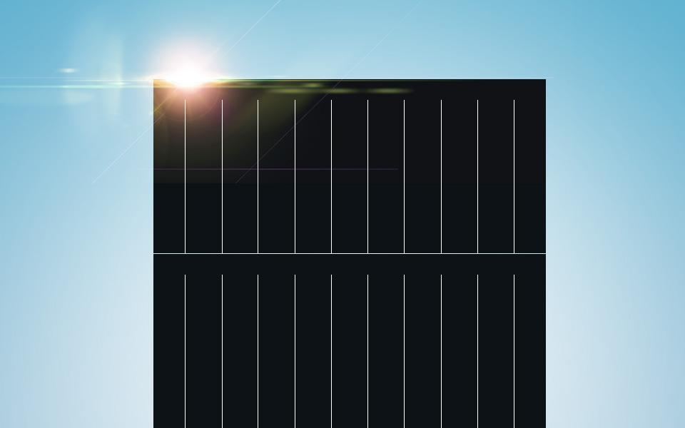 Solar module with sun reflecting on corner