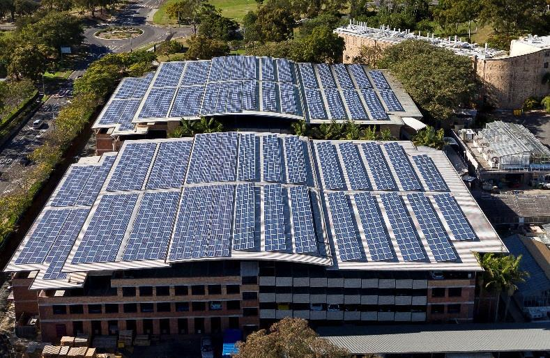 Aerial view of rooftop solar installation at university