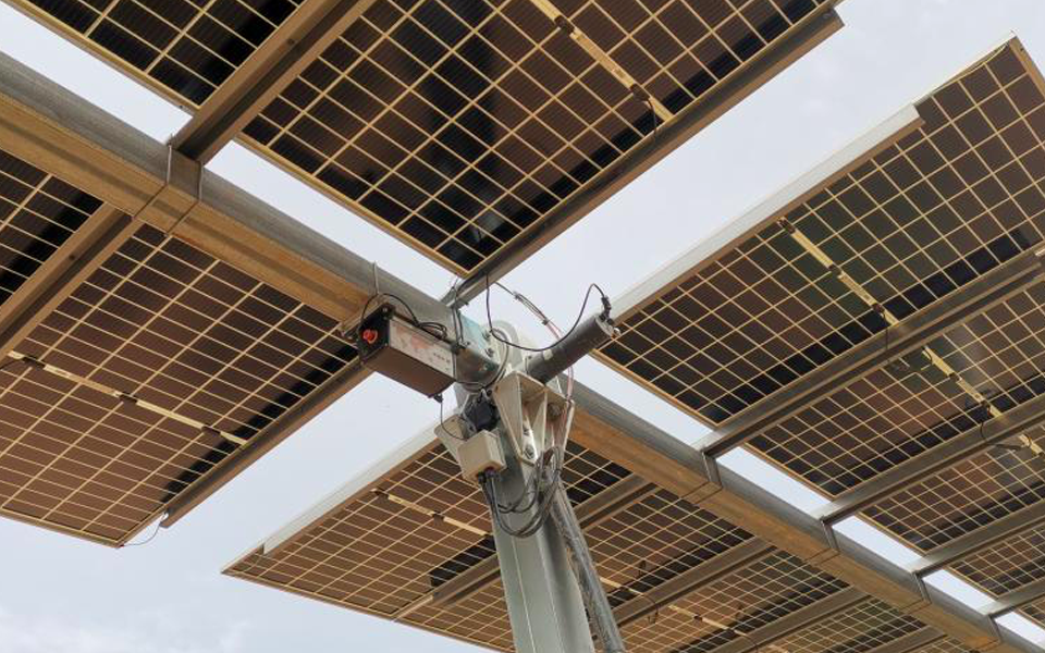 View from below a solar panel installation
